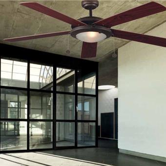 Ventilador de techo en color marrón con dos portalámparas E27