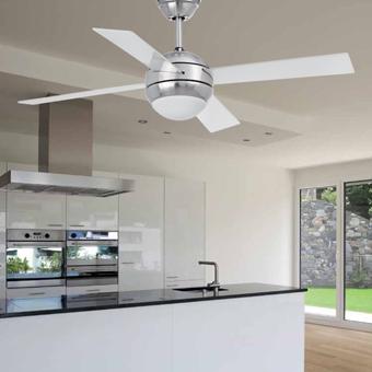 Ventilador de techo Cool en níquel mate con dos portalámparas Bipin G9