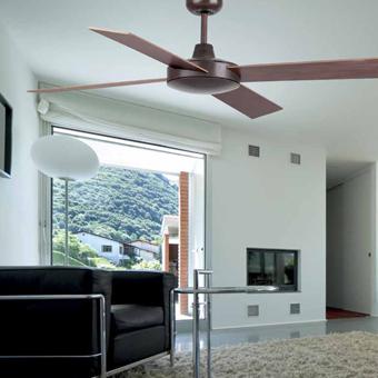 Ventilador de techo en color marrón óxido con mando a distancia