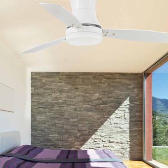 Ventilador vanguardista en blanco con dos portalámparas E27