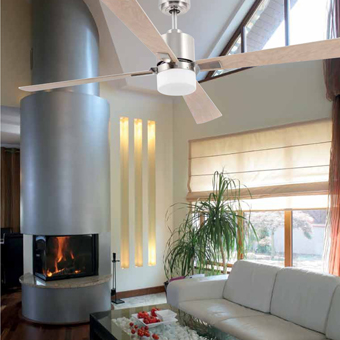 Trendy style fan in nickel mate with two 28W bulbs Eco