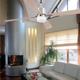 Ventilador de estilo Trendy en color níquel mate con dos portalámparas E27