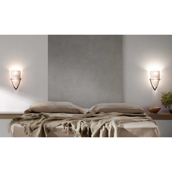 Lamp rust brown rustic style with two 42W bulbs Eco