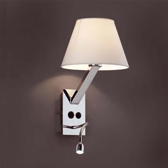Aplique en acero y tulipa blanca con bombilla Eco de 42W y LED de 1W