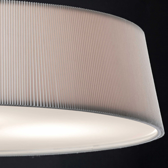 White lamp with fabric screen, crystal opal and Eco 42W bulb
