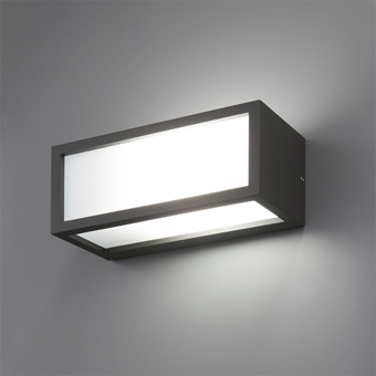Minimal wall in dark gray with energy saving light bulb 20W cold