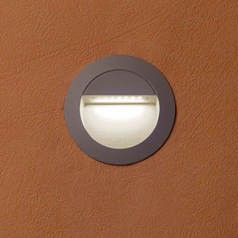 Signaling circular recessed IP65 LED in gray with 1.4 W