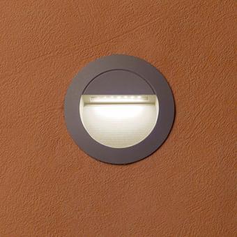 Empotrable circular de señalización IP65 en gris con LED de 1,4W