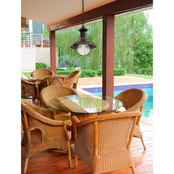 Outdoor pendant in brown rust and diameter of 27 cm with 42W bulb