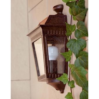 Aplique de pared para exterior en marrón óxido